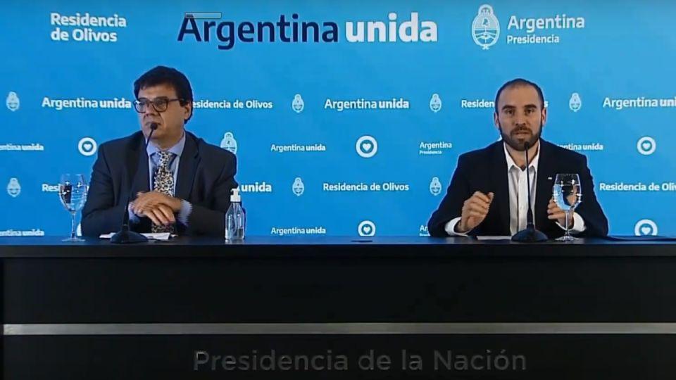 El ministro de Trabajo, Claudio Moroni, y el de Economía, Martín Guzmán, dieron anuncios económicos en medio del coronavirus.