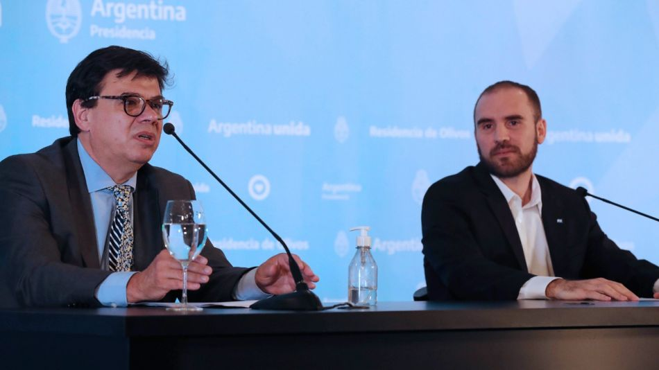 Conferencia de prensa en la residencia de Olivos de los ministros de Economía, Martín Guzmán, y Trabajo, Claudio Moroni.