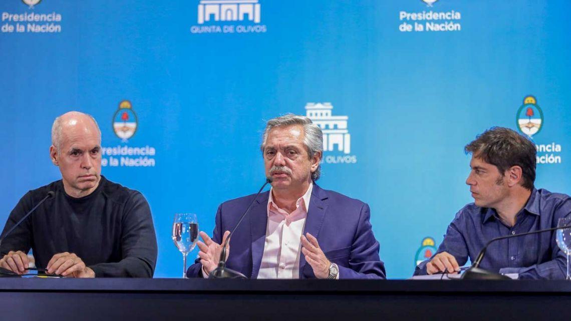 Alberto Fernández, Larreta y Kicillof