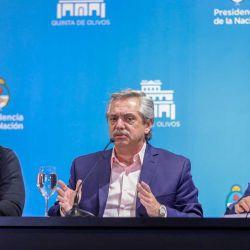 Alberto Fernández con Larreta y Kicillof | Foto:Cedoc
