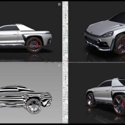 Bocetos digitales del Porsche Traykan realizados por el diseñador Adel Bouras.
