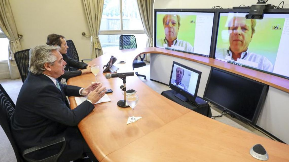 President Fernández received the financial support of the World Bank over teleconference.