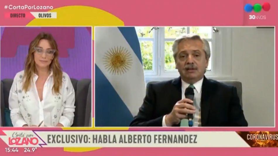 Alberto Fernández, con Verónica Lozano en Telefe.