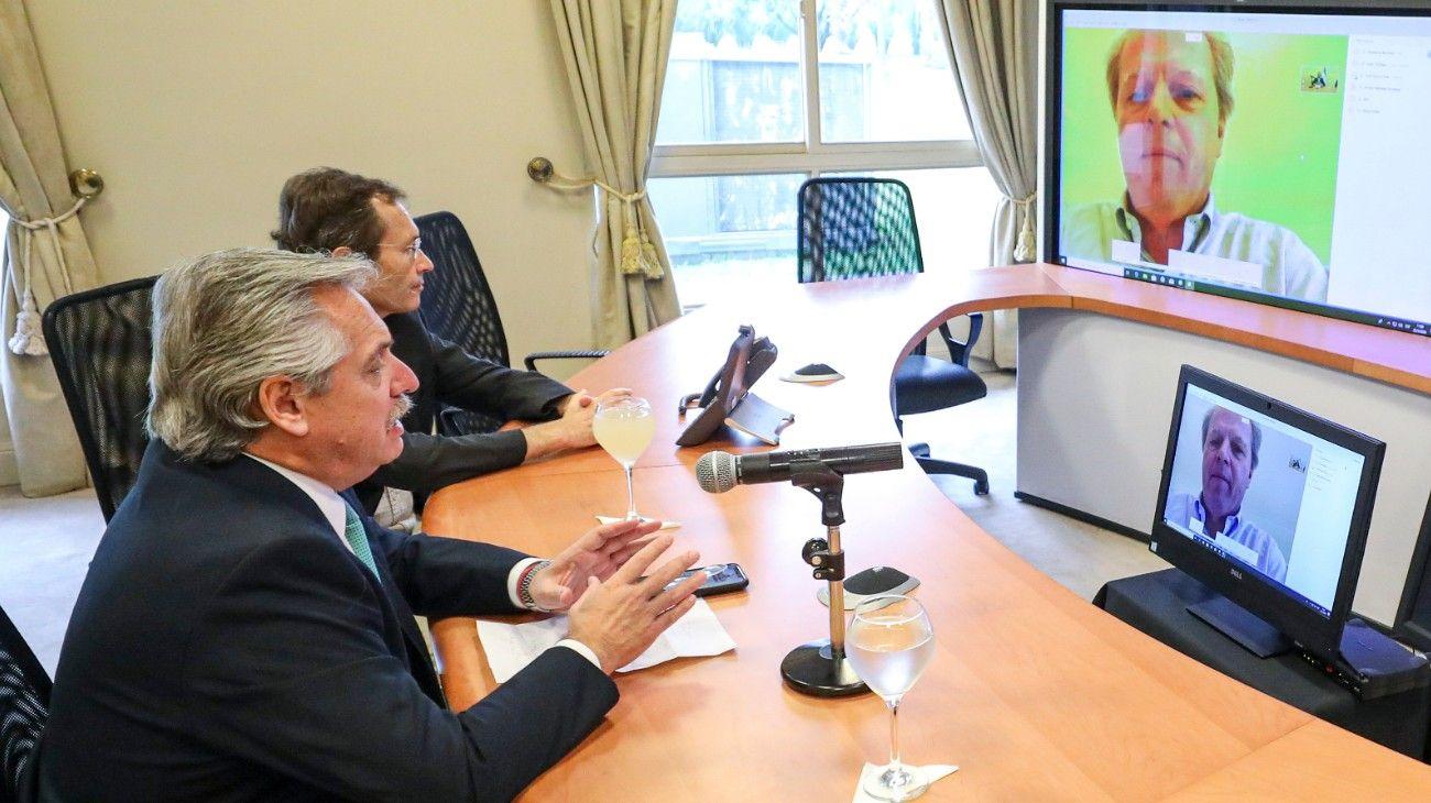 El presidente Alberto Fernández en videoconferencia.
