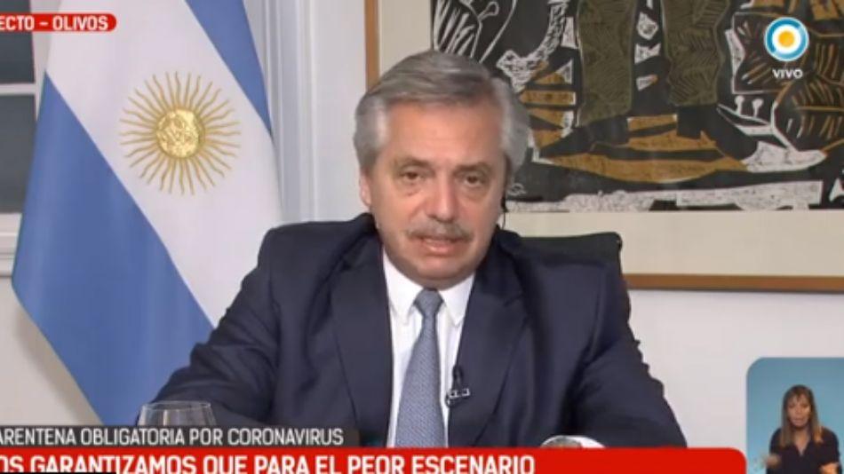 El presidente Alberto Fernández, en la entrevista de la Televisión Pública.