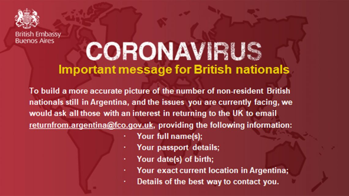 Message from the British Embassy in Argentina.