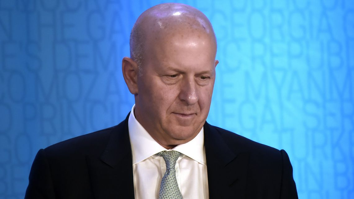 "In this file photo taken on October 18, 2019 Goldman Sachs CEO David Michael Solomon attends a discussion on ""Women Entrepreneurs Through Finance and Markets"" at the World Bank in Washington, DC."