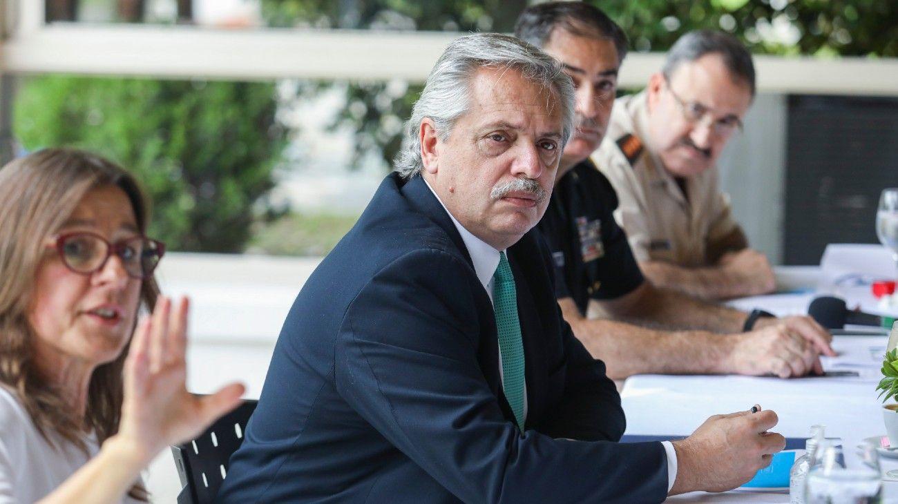 Alberto Fernández en la residencia presidencial de Olivos.
