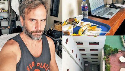 Albúm. Alejandro Bellotti está en un hotel céntrico con su computadora. Le dejan bandejas de comida y solo ve un pulmón de manzana.