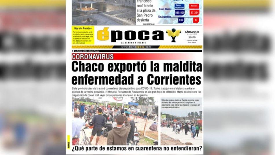 polemico titulo diario corrientes chaco coronavirus g_20200328