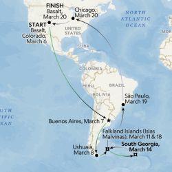 El trayecto de McBride desde las Islas Malvinas hacia los Estados Unidos fue bastante accidentado.