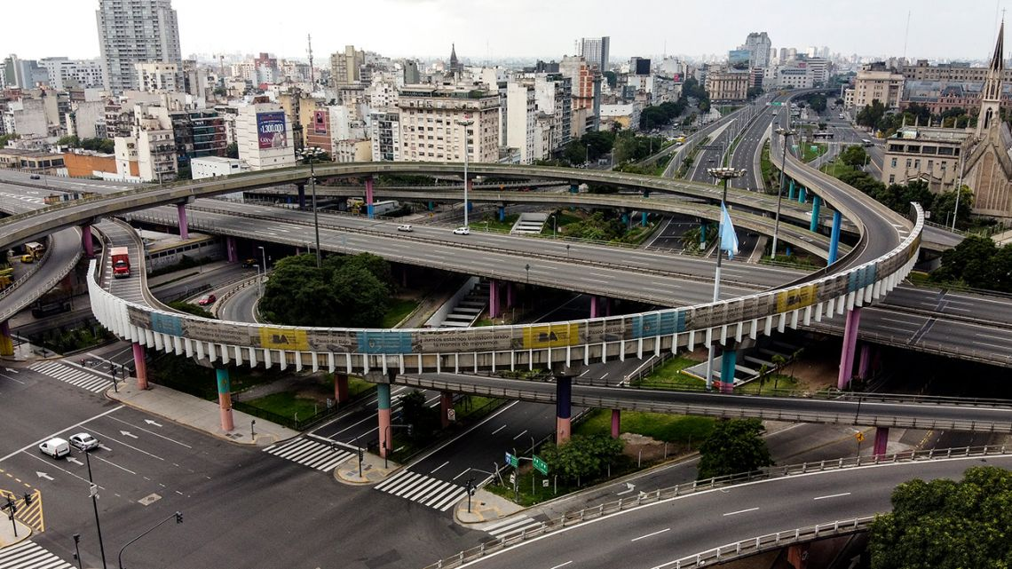 Aerial view of empty motorway in Buenos Aires, on March 30, 2020.