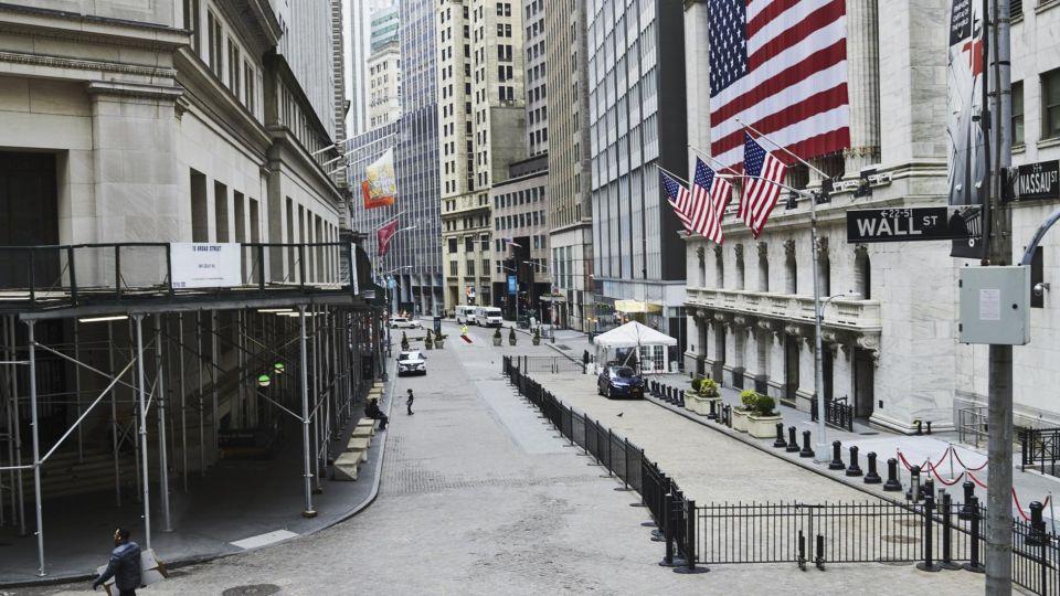 El edificio del Mercado de Valores de Wall Street en tiempos de Pandemia.