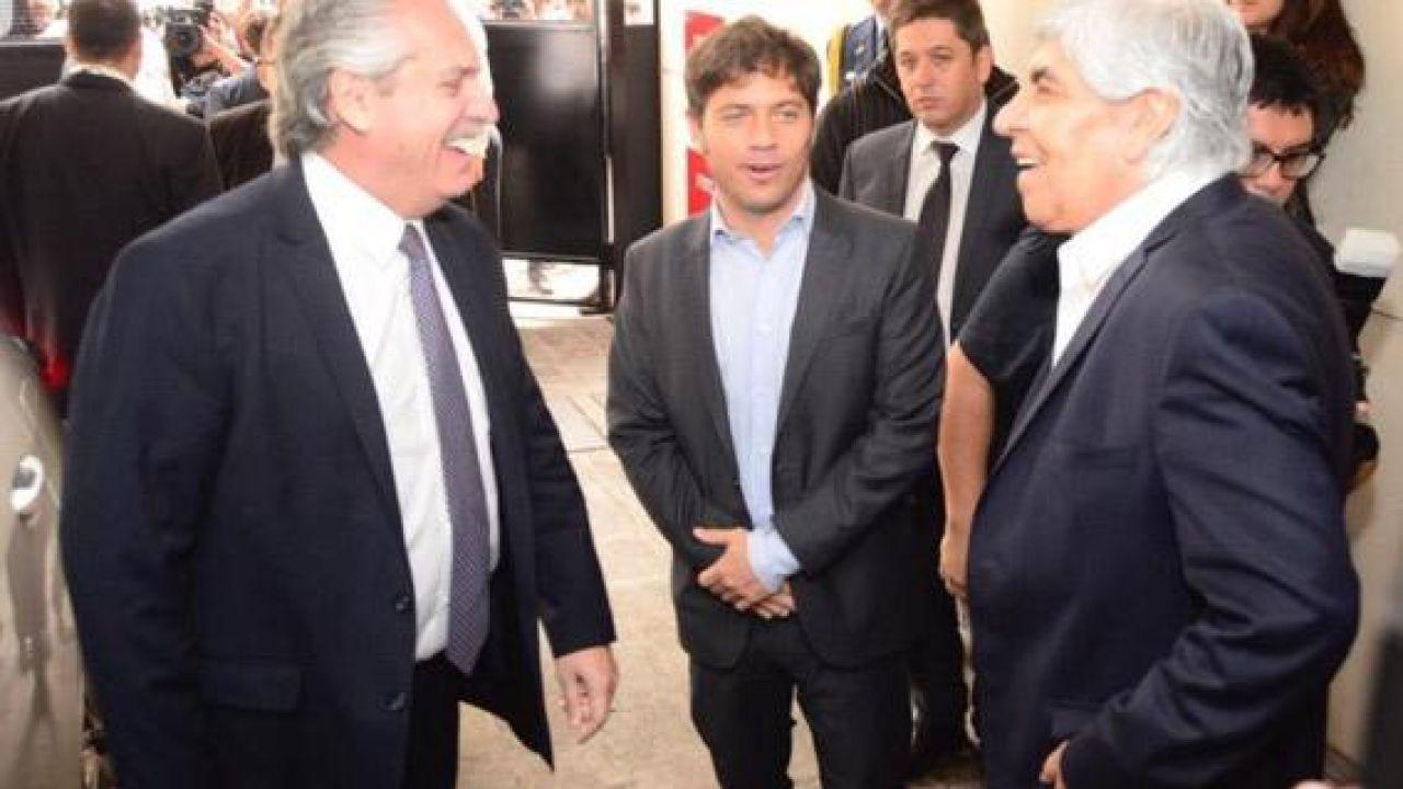Alberto Fernández, Kicillof y Hugo Moyano   Foto:Cedoc