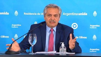 El presidente Alberto Fernández cuando anunció la prórroga de la cuarentena.