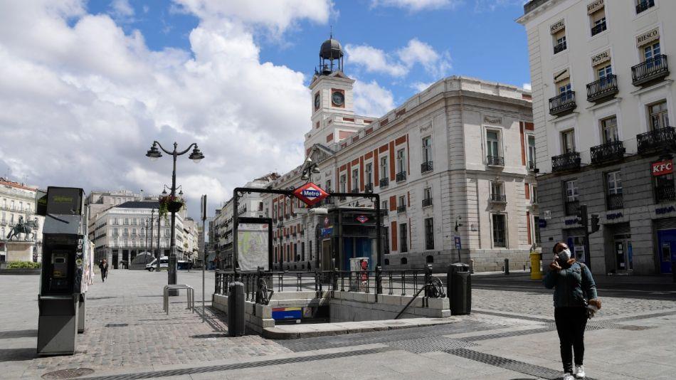 La plaza de Puerta del Sol en Madrid, vacía