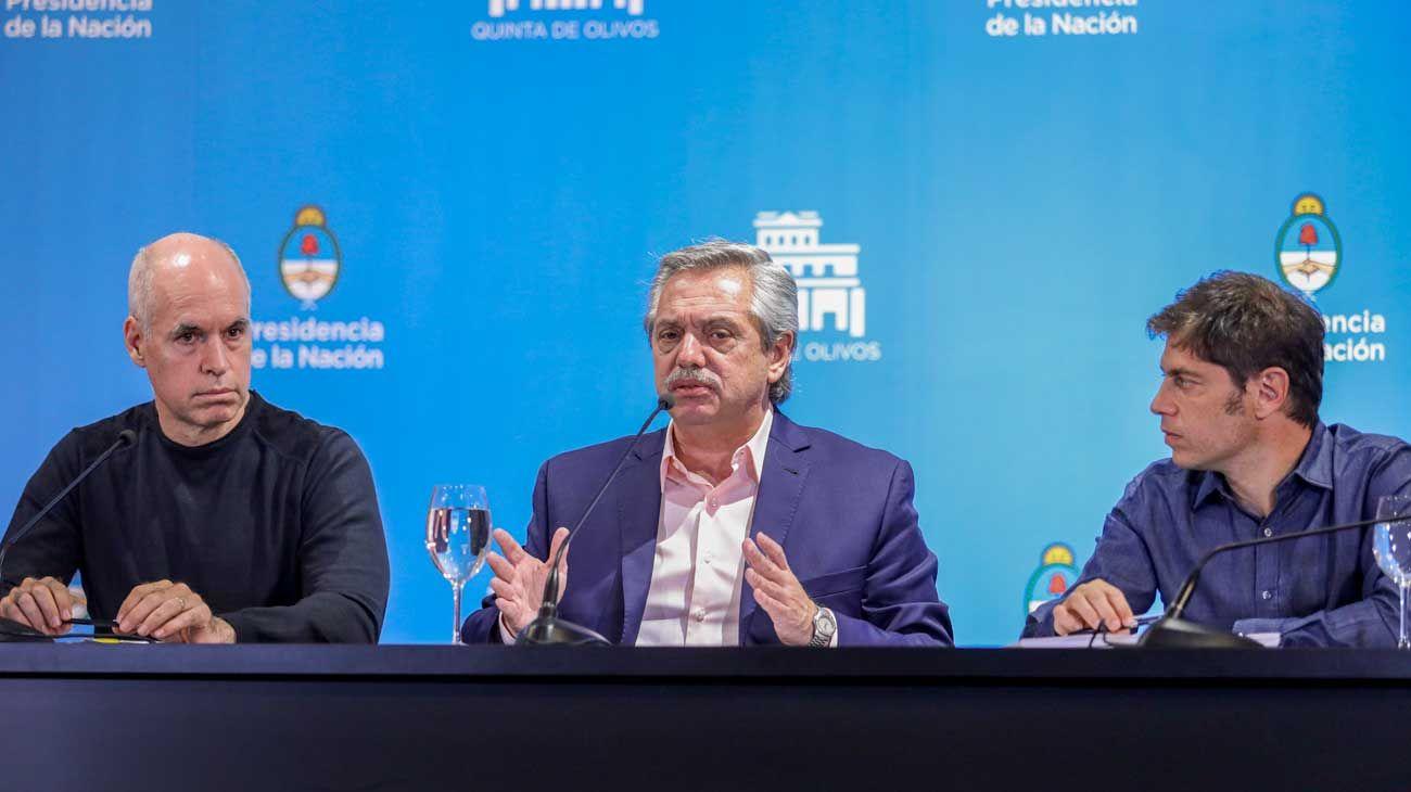 Horacio Rodríguez Larreta, Alberto Feranandez y Axel Kicillof