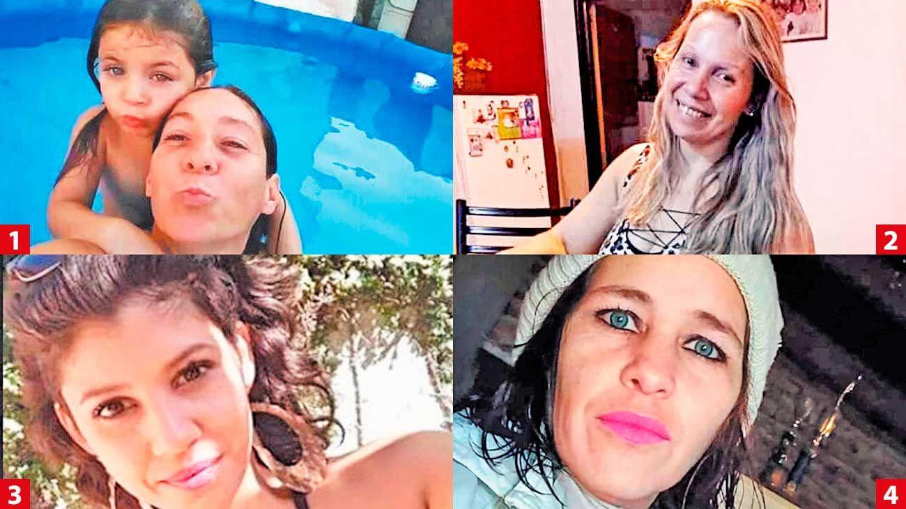 Ni una menos. Cristina Iglesias y su hija Ada (1); Claudia Repetto (2). Florencia Santa Cruz (3); Romina Videla (4).