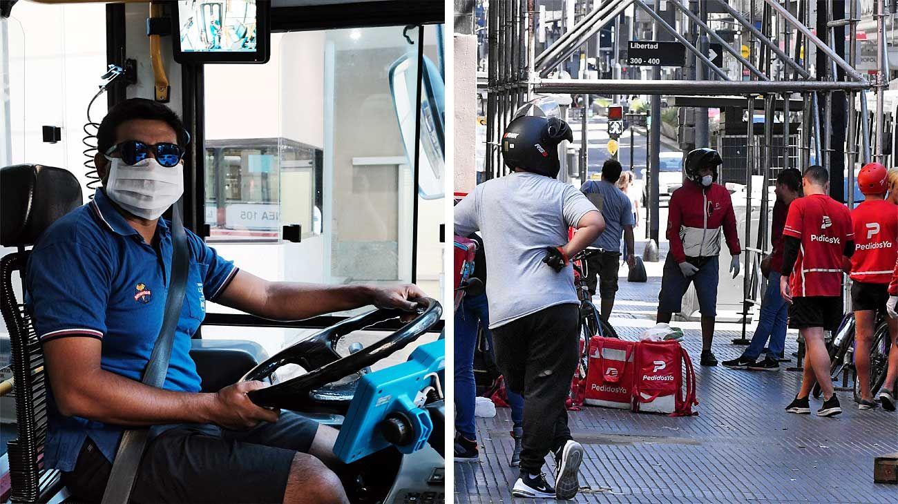 En funciones. Los mensajeros se ven por toda la Ciudad. Barrenderos, colectiveros y recolectores suman barbijos y guantes.