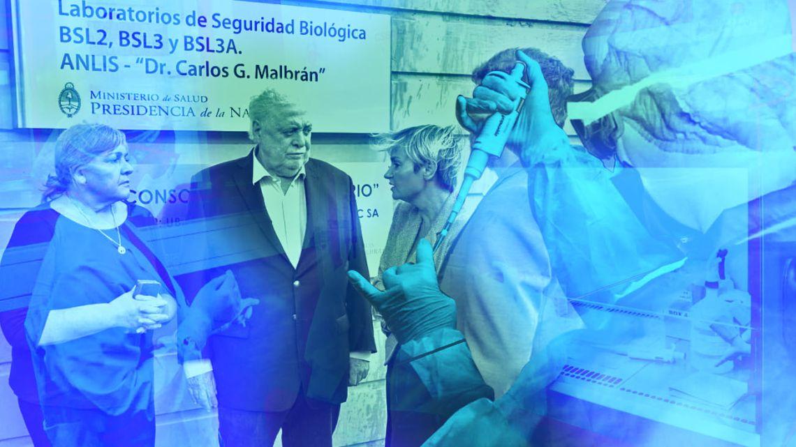 Health Minister Ginés González García visits the Malbrán Institute last week.