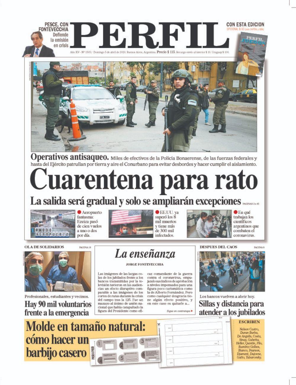 La tapa de Diario PERFIL de este domingo 5 de abril de 2020
