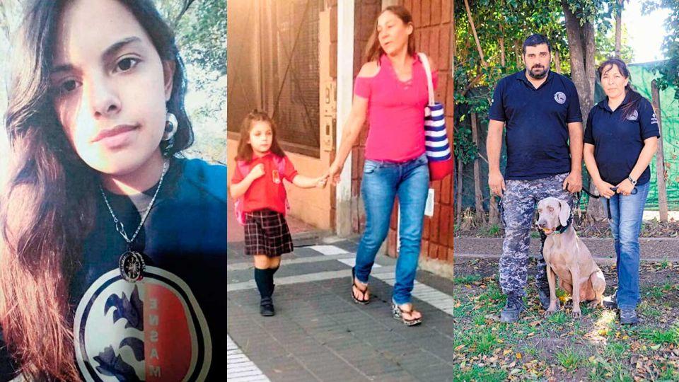 Messi de los perros. Colaboró en el hallazgo de los cuerpos de Cristina y su hija Ada (medio). En 2017 ayudó a encontrar a Anahí (izq.).