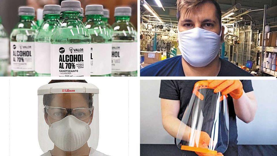 Básicos. Alcohol, barbijos no médicos y máscaras protectoras, los productos que ya se fabrican.