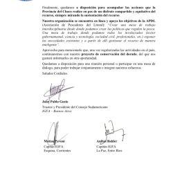 Nota enviada por la IGFA al gobierno del Chaco.