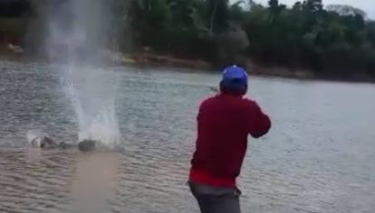 """En el Paraná santefecino los furtivos """"cazan"""" surubíes con lanzas y escopetas."""