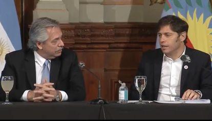 El presidente Alberto Fernández y el gobernador de Buenos Aires Axel Kicillof.