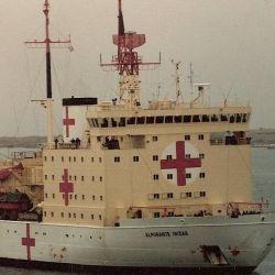 Así se veía el a Irízar en 1982, cuando fue transformado en hospital durante la guerra de Malvinas.