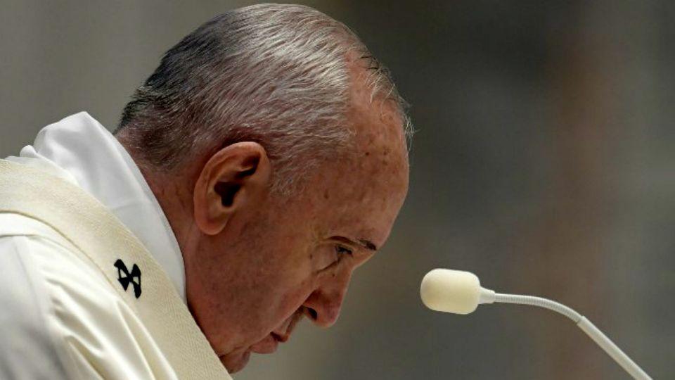 El para Francisco, durante su homilia de Jueves Santo, este 9 de abril en el Vaticano.