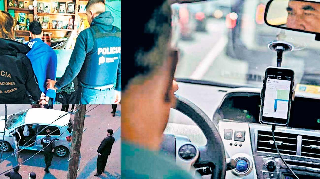 Casos. En Malvinas Argentinas (izq. arriba) desbarataron una banda cuando uno de sus miembros perdió el celular. Izquierda abajo: un policía que hacía extras en Uber mató a un ladrón en Lomas del Mirador.