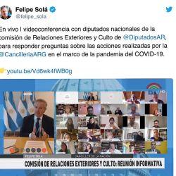 Tuit del canciller Felipe Solá.