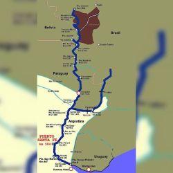 Mapa completo del río Paraná.