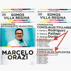 una boleta del macrismo de Villa Regina, con la prima de Fabiola Yañez, Antonella, y su tío Jaime como candidatos de la contra. | Foto:cedoc