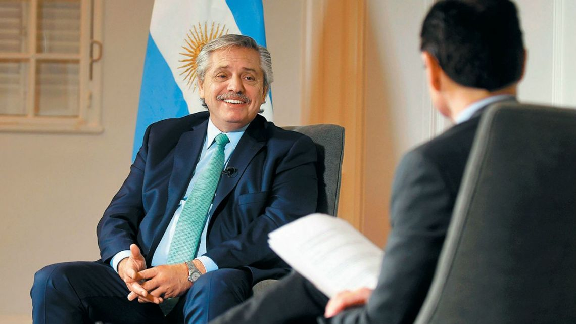 President Alberto Fernández, pictured during an interview at the Olivos presidential residence with Perfil's Jorge Fontevecchia.
