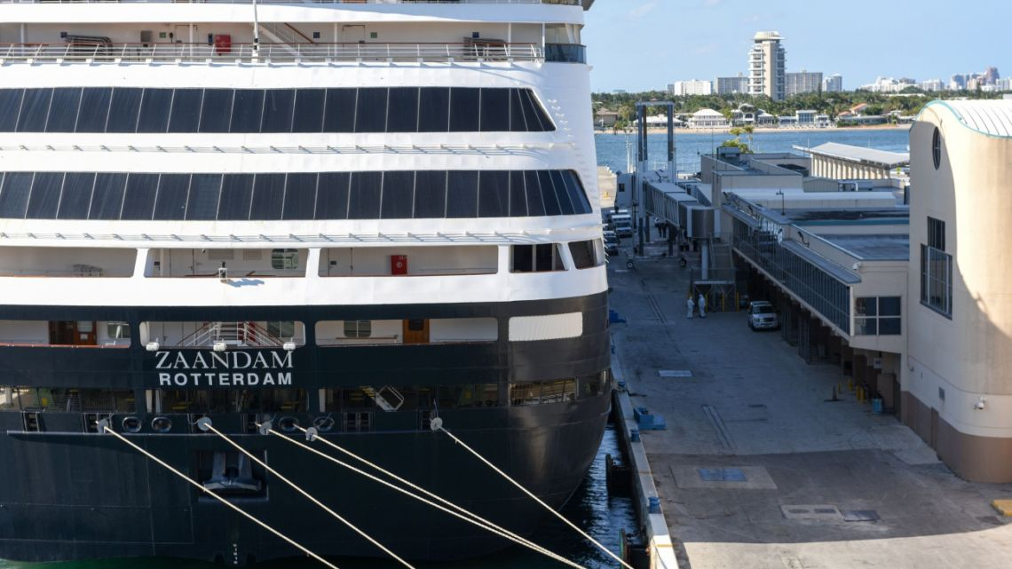 The Holland America Line Inc. Zaandam cruise ship sits docked at the Port of Everglades in Fort Lauderdale, Florida, on April 2.