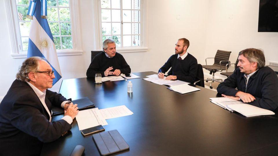Reunión entre Alberto Fernández, Martín Guzmán, Máximo Krichner y Carlos Heller.