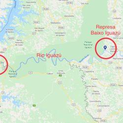 Situación geográfica de la represa Baixo Iguazú y la Triple Frontera.