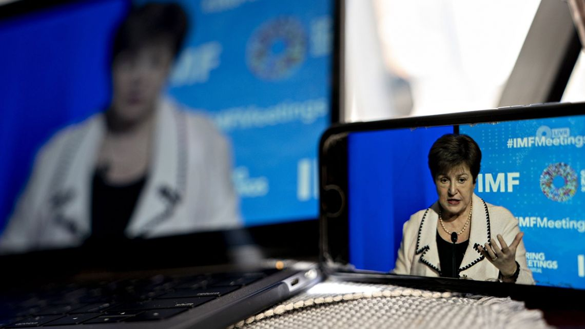 Kristalina Georgieva, the managing director of the International Monetary Fund (IMF), speaks during a virtual press conference, as seen on a smartphone in Arlington, Virginia, United States, on Wednesday, April 15, 2020.
