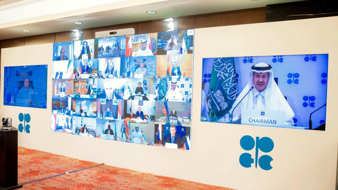Saudi Energy Minister Prince Abdulaziz bin Salman al-Saud (R), chairing the virtual extraordinary meeting of OPEC and non-OPEC countries, amid the novel coronavirus pandemic on April 9, 2020 in Riyadh.