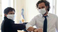 Codo a codo. El gobernador Axel Kicillof se reunió con Santiago Cafiero por el aislamiento