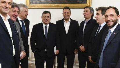 Sergio Massa y los presidentes de cada bloque de diputados.