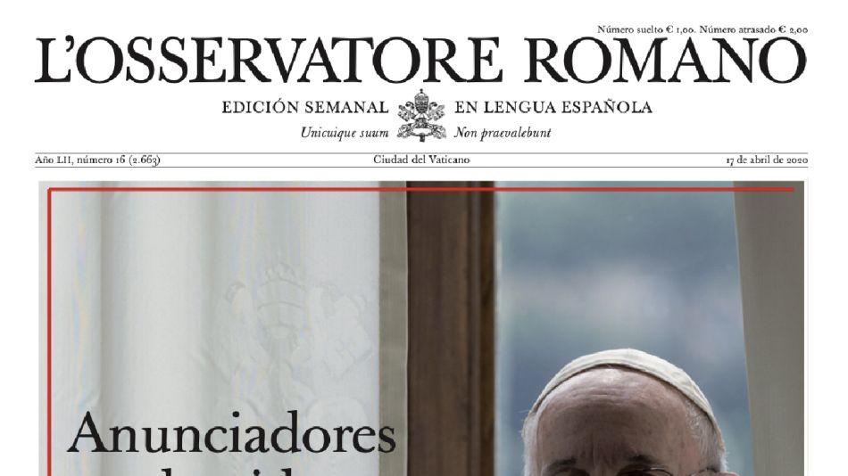 Portada de la última edición del Osservatore Romano.