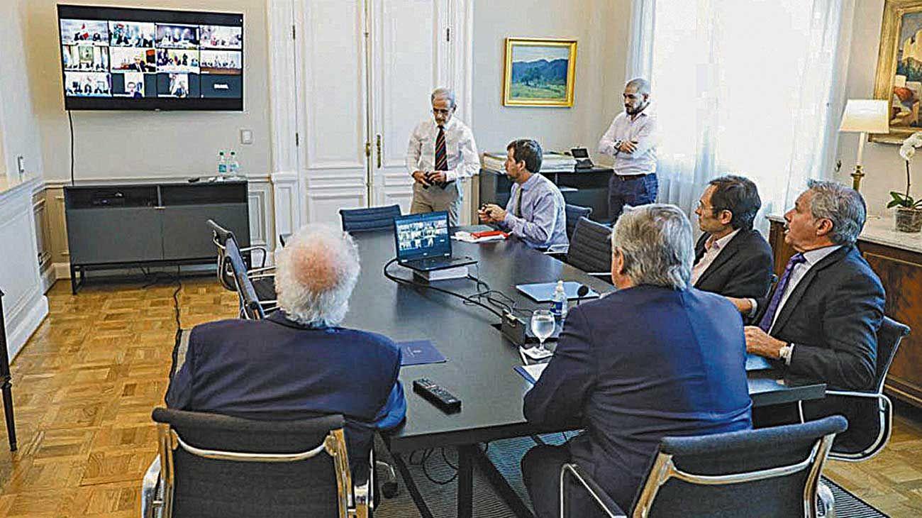 PROSUR. El presidente Alberto Fernández durante el encuentro virtual del grupo regional.