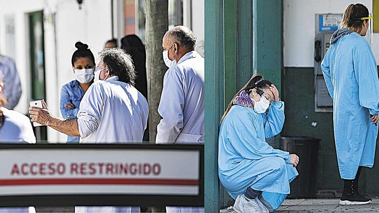 Movilización. Médicos y enfermeras del Hospital Belgrano, de San Martín, realizaron ayer una asamblea para reclamar elementos de protección personal y testeos.