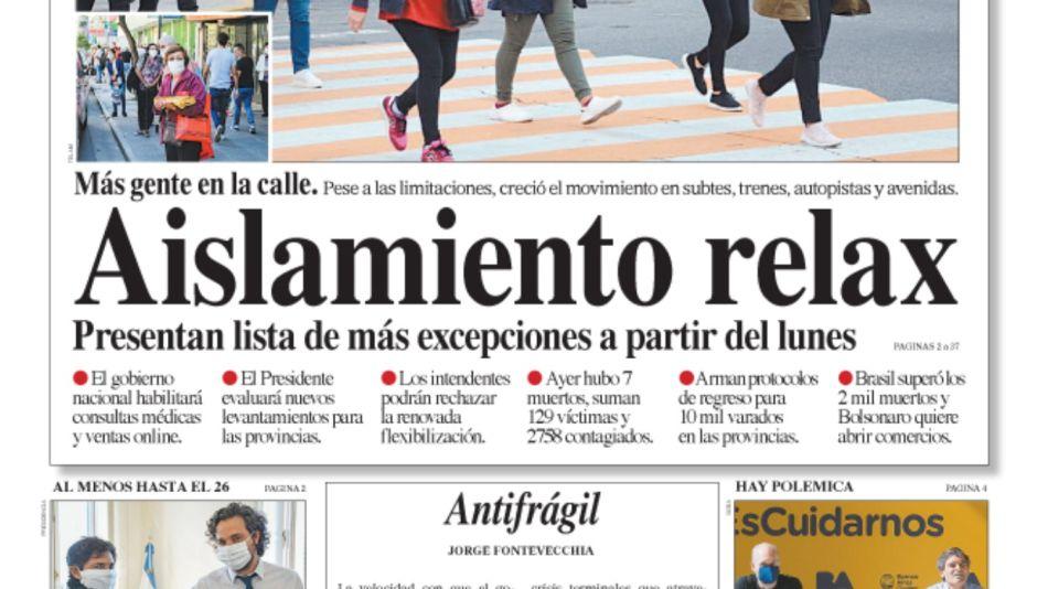 La portada de la edición impresa del Diario Perfil de este sábado 18 de abril.