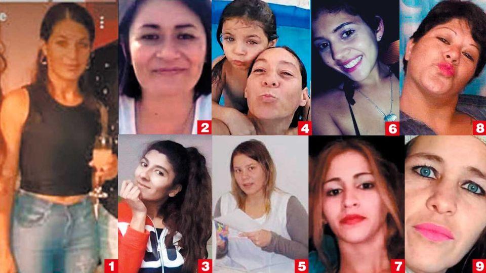 Victimas en cuarentena. Verónica Soule (1), Estela Florentín (2), Soledad Carioli Lespade (3), Cristina y Ada Iglesias (4), Jésica Minaglia (5), Florencia Santa Cruz (6), Alejandra Sarmiento (7), Susana Melo (8) y Romina Videla (9).