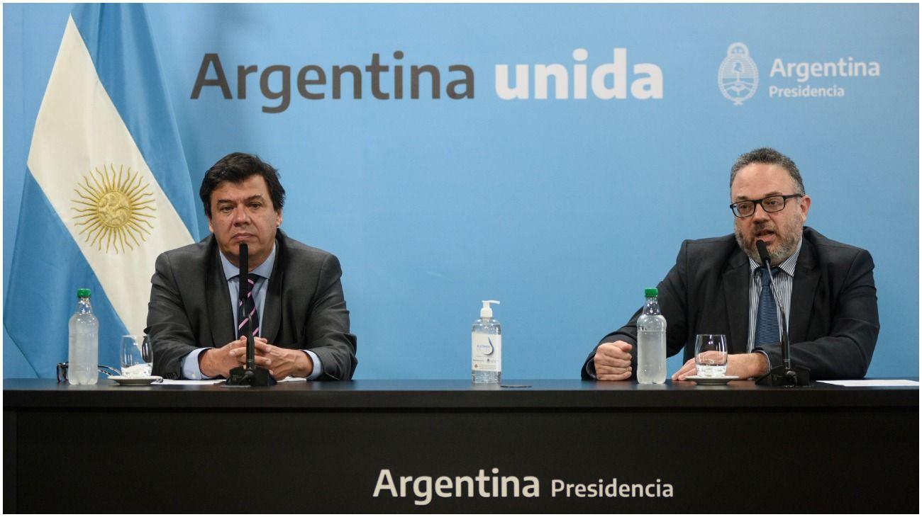 Los ministros de Trabajo y Desarrollo Productivo, Claudio Moroni y Matías Kulfas.